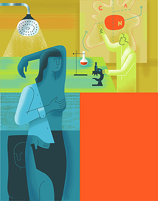 illustration by doug ross of breast cancer research and self exam