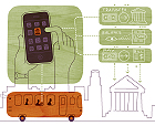 illustration by doug ross included in american illustration book of iphone user commuting by bus and doing his personal banking in a modern minimalist style